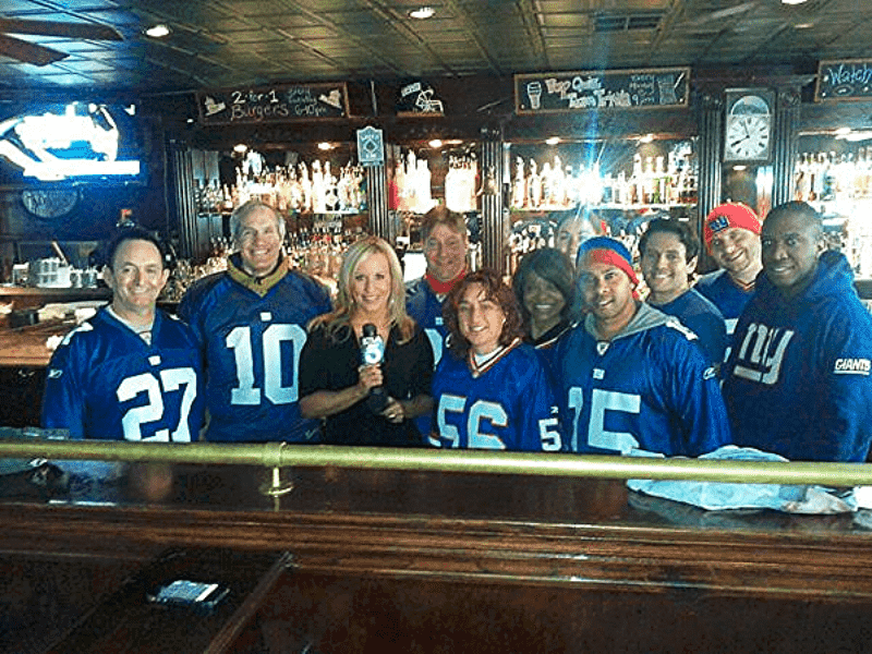 New York Giants fans at O'Briens Pub in Santa Monica, California